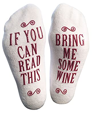 "Luxury Combed Cotton ""Bring Me Some Wine"" Socks - Perfect Hostess or Housewarming Gift Idea, Present for the Woman Who Has Everything, or Gift Idea for a Wine Enthusiast"