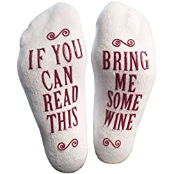 Luxury Combed Cotton Bring Me Some Wine Novelty Socks - Perfect Mother's Day Gift, Hostess or Housewarming Gift Idea for Women, Cute Present for Wine Lover or Wife - By Haute Soiree