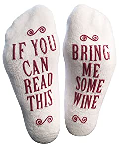"""Luxury Combed Cotton """"Bring Me Some Wine"""" Socks - Perfect Hostess or Housewarming Gift Idea, Present for the Woman Who Has Everything, or Gift Idea for a Wine Enthusiast"""