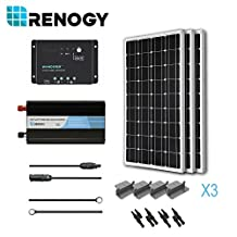RENOGY® Solar Panel Complete Kit 300W Mono: Three 100W Mono Solar Panel+One 30A PWM Charge Controller+One Battery Inverter 1000W+Two Pairs MC4 Branch Connectors+One Pair 20Ft MC4 Solar Adaptor Kit+One Pair 8Ft 10AWG Tray Cable+Three Sets Z Brackets