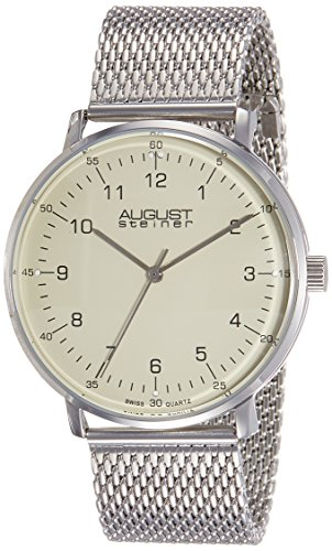 August Steiner Men's AS8091SS Stainless Steel Watch with Cream Dial and Mesh Bracelet