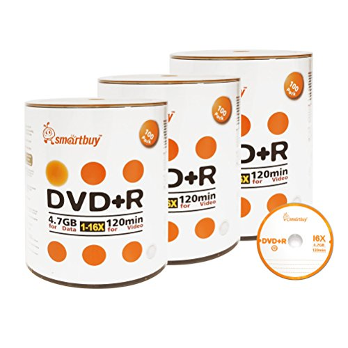 Smart Buy 300 Pack DVD+R 4.7gb 16x Logo Blank Data Video Movie Recordable Disc, 300 Disc 300pk by Smart Buy