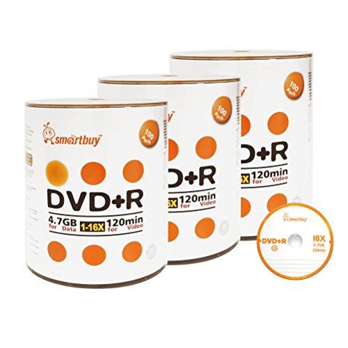 Smartbuy 300-disc 4.7gb/120min 16x DVD+R Logo Top Blank Data Recordable Media Disc by Smartbuy