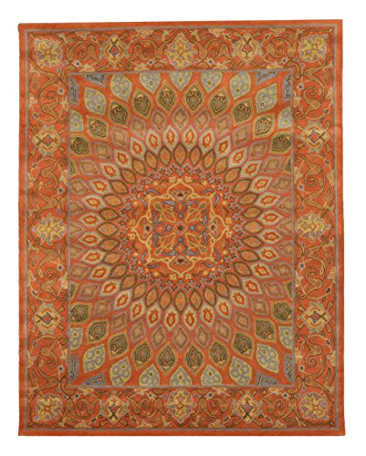 EORC SHT12RT5X8 Hand Tufted Wool Gombad Rug, 5' x 8', Rust
