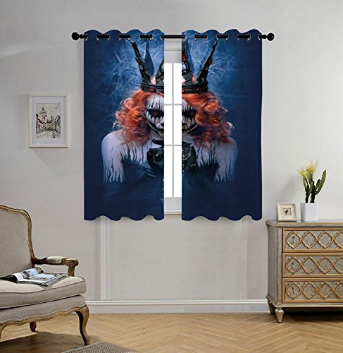 iPrint Stylish Window Curtains,Queen,Queen of Death Scary Body Art Halloween Evil Face Bizarre Make Up Zombie,Navy Blue Orange Black,2 Panel Set Window Drapes,for Living Room Bedroom Kitchen (Evil Girl Halloween Makeup)