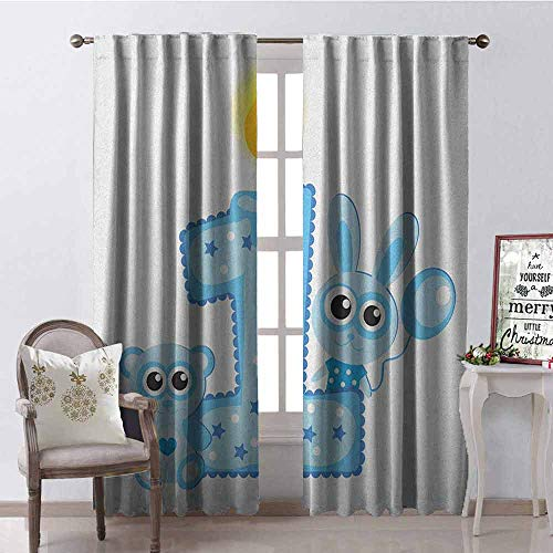Price comparison product image Gloria Johnson 1st Birthday Wear-Resistant Color Curtain Boys Party Theme with a Cake and Candle Rabbit and Bear Animals Waterproof Fabric W52 x L54 Inch Baby Blue and Pale Blue