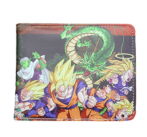 Dragon Ball Z Character with Green Dragon TV Show Theme Leather Look Bi-foldWallet (Gift Box Included) (Leather Dragon Green)