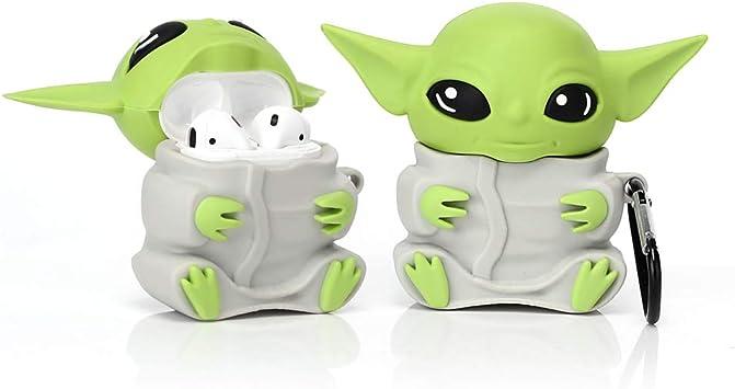 Yigeyi Silikon Hülle Kompatibel Mit Airpods 1 2 Funny Cute 3d Cartoon Case Cover Yoda Alien Grau Baumarkt