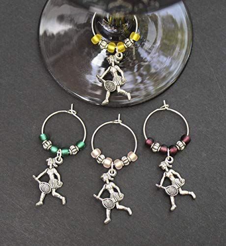 Tennis Wine Glass Charms-Pewter-Set of 4-TNSGRL005-4 ()