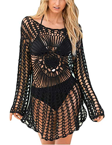 Bsubseach Black Knitted Crochet Beach Cover Up Shirt Tunic Top Women Long Sleeve Hollow Out Bikini Swimwear Bathing Suit