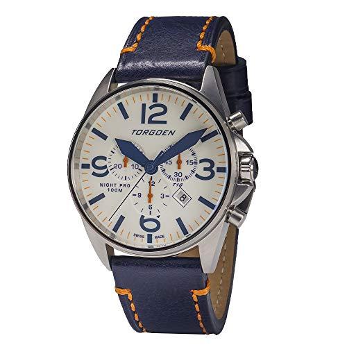 Torgoen T16 Night Pro Pilot Watch 44mm – Blue Leather Strap