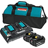 Makita BL1850B2DC2X 18V LXT Lithium-Ion Battery & Dual Port Charger Starter Pack (5.0Ah) (Discontinued by Manufacturer)