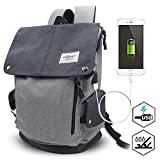Waterproof Laptop Backpack with USB Charging Port, Anti-Theft School Business Travel Backpack Fits Up to 15 Inch Laptop By Puersit(Black+Grey)