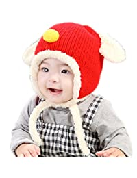 RIY Baby Girls Boys Winter Bomber Trooper Hat Kids Knit Sherpa Hats with EarFlap red