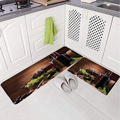 2 Piece Non-Slip Kitchen Mat Rug Set Doormat 3D Print,Wine Served with Grapes French Gourmet Tasting,Bedroom Living Room Coffee Table Household Skin Care Carpet Window Mat, ()