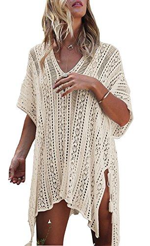 Es Unico Swimwear Cover Up, Crochet Coverup For Bikini, Bathing Suit, Beachwear For Women (2.Beige)