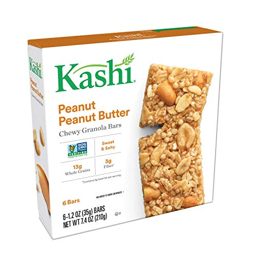 Kashi, Chewy Granola Bars, Peanut Peanut Butter, Non-GMO Project Verified, 7.4 oz (6 Count)(Pack of 8)