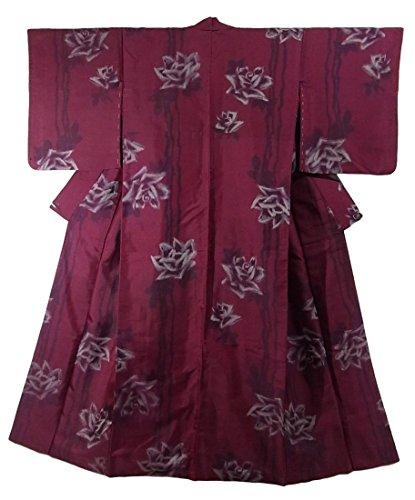 アンティーク 着物 銘仙 縞に薔薇の花模様 エレガント 裄60cm 身丈148cm