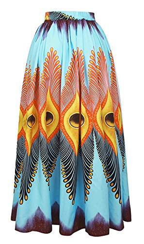 OFEEFAN Womens Sexy Floral African Print Wide Loose Fit Maxi Skirt M by OFEEFAN (Image #2)