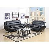 GTU Furniture Contemporary Bonded Leather Sofa & Loveseat Set, 2 Piece Sofa Set (BLACK)