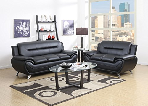 GTU Furniture Contemporary Bonded Leather Sofa & Loveseat Set, 2 Piece Sofa Set (BLACK) (Leather Living Room Sofa Finish)