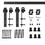 Woodside Sliding Barn Door Hardware, 8FT Double Door Kit, Classic Roller, Black Tracks, Ideal for Indoor and Outdoor Use, Included Self-Explanatory Installation Manual.