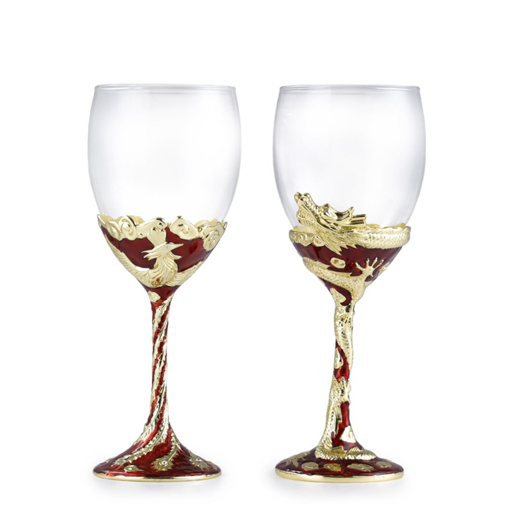 high wine Phoenix lettering Goblet lovers wine glass-A