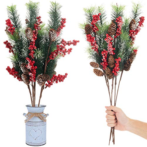 Longble 5 Packs Artificial Red Berries Stems with Frosted Pinecones and Pine Needles Floral Sprays Decorations for Christmas Tree Decor Holiday Flower Crafts … (2-23.6 inches)