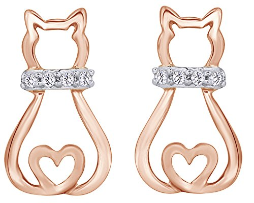 Mothers Gift Round Cut White Diamond Accent Sitting Kitty Cat Heart Stud Earrings In 14K Rose Gold Over Sterling Silver