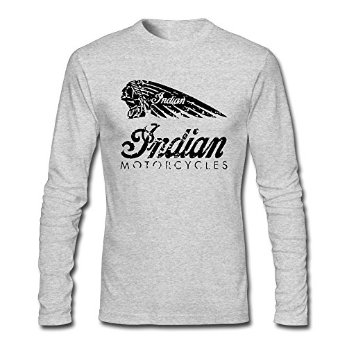 Indian Chief Motorcycles Men Long Sleeve O-neck T-Shirt Gray XX-Large