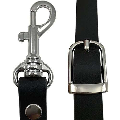 """5/8"""" Black Top Grain Leather Replacement Adjustable Cross Body Purse Strap"""