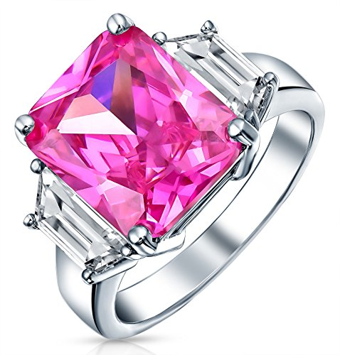 Emerald Side Stones - Bling Jewelry Sterling Silver Emerald-Cut Pink CZ Three Stone Engagement Ring - Size 6