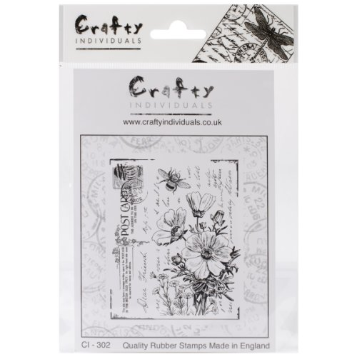 Crafty Individuals CI-302 Unmounted Rubber Stamp, Floral Postcard -
