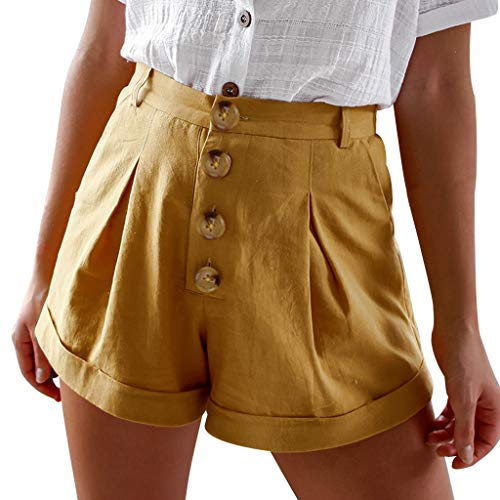 Botrong Fashion Women's Button Closure Elastic Waist Summer