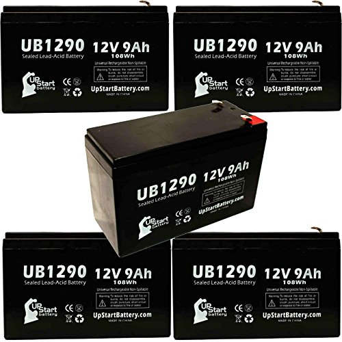 Rbc22 Ups - 5 Pack - UB1290 Universal Sealed Lead Acid Battery Replacement (12V, 9Ah, 9000mAh, F1 Terminal, AGM, SLA) - Includes 10 F1 to F2 Terminal Adapters