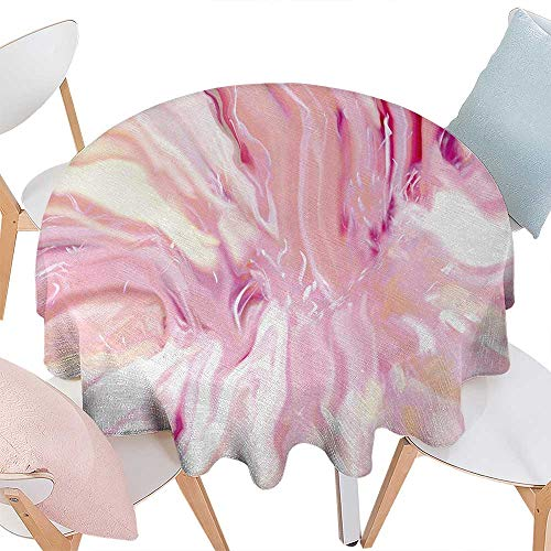 cobeDecor Marble Washable Round Tablecloth Watercolor Brushstroke Style Hazy Mixed Colors in Murky Artistic Display Waterproof Round Tablecloths D36 Magenta Coral Cream