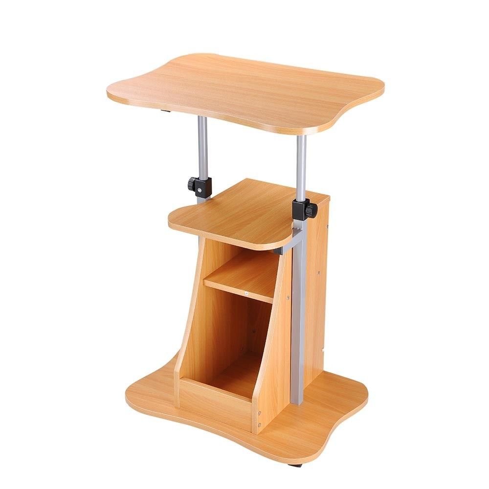 Seleq Adjustable Wood Color Rolling Standing Desk for Laptop