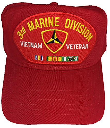 3RD MARINE DIVISION VIETNAM VETERAN WITH CAMPAIGN RIBBONS HAT - RED - Veteran Owned - 3rd Marine