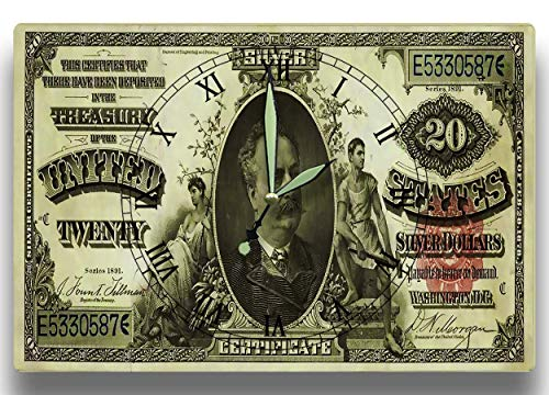 Customized Manning Note Money Clock United States Treasury Department Series 1891 20 Dollar Silver Certificate 8 x 12 inch Wall Clock (1891 Treasury Note)