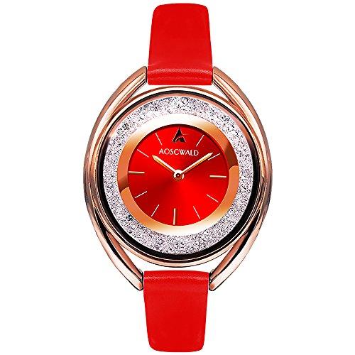 Rhinestone Waterproof Lady Quartz Watch Fashion Leather Women Watch Casual Ellipse Rose Gold Wrist Watch (red) (Ladies Rhinestone Wrist Watch)