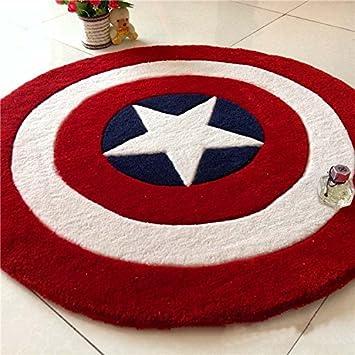 MeMoreCool Childrens Room Area Rugs Captain America Shield Carpet Thicken Round Rug Acrylic Anti Slip