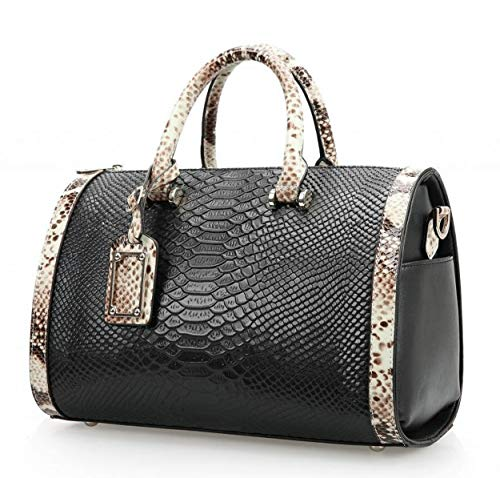 Mn&Sue Trendy Women's Crocodile Cobra Pattern Top Handle Purse Cross Body Boston Doctor Handbag (Black)