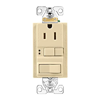 amazon com: eaton wiring gfci self-test 15a -125v receptacle with switch  with mid-size wallplate, ivory: home improvement