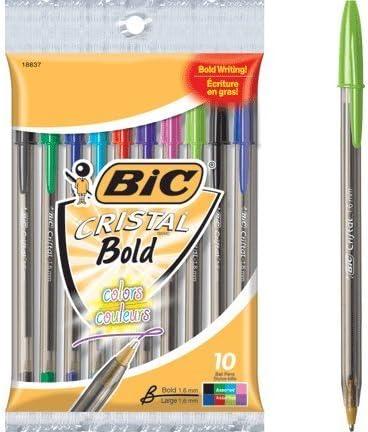 5 x bolígrafos Bic Cristal xtra-bold 10 Count Pack, varios colores ...