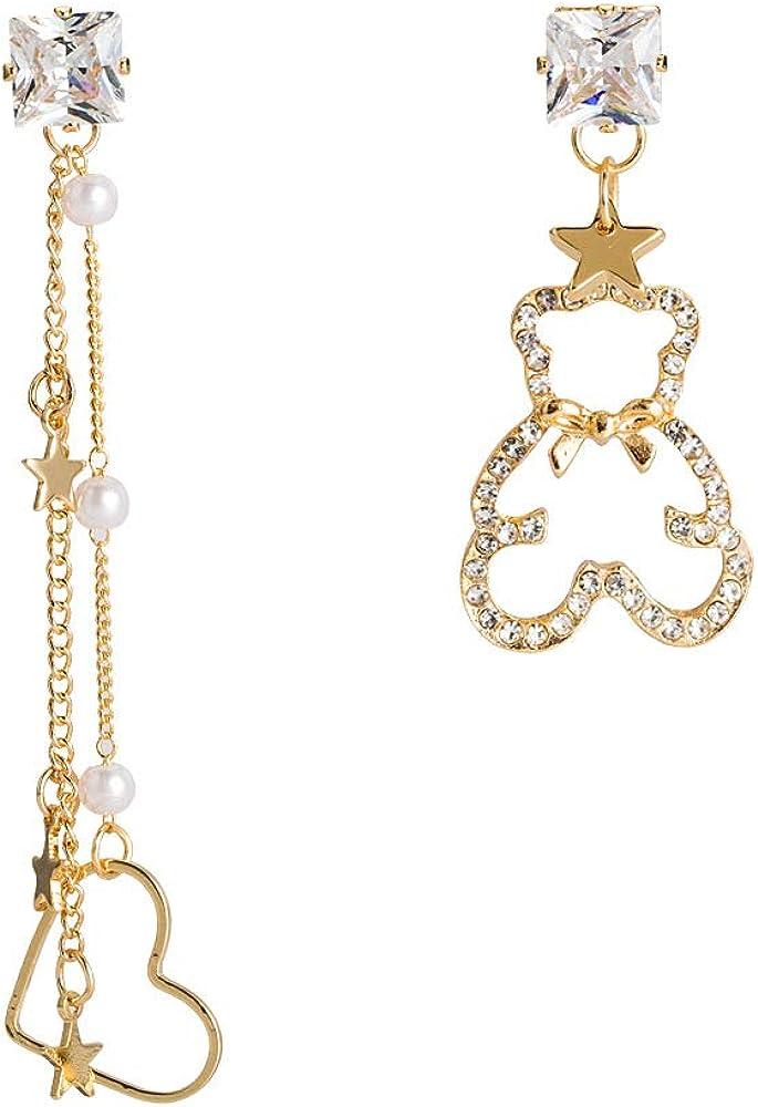 GLJIJID Pendientes Asimétricos Huecos De Diamantes, Diseño De Amor, Simbolizan El Amor De Oro.