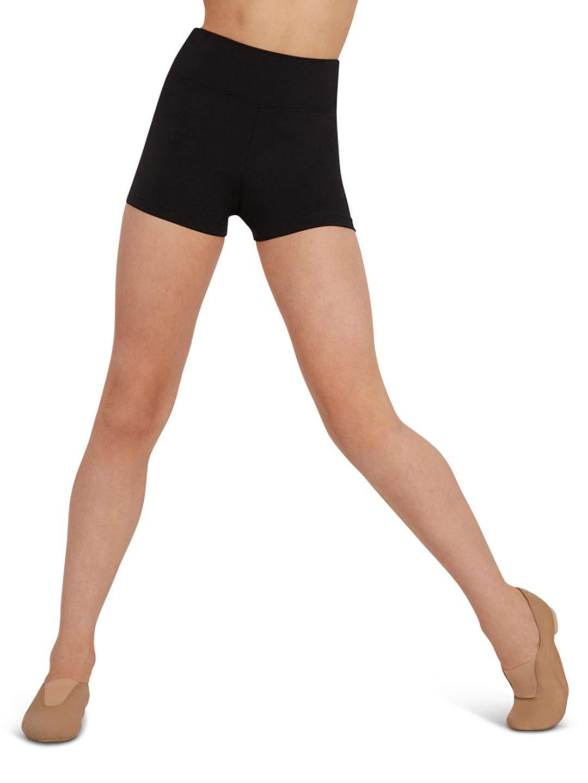 Capezio Big Girls' Team Basic High Waisted Short, Black, Large