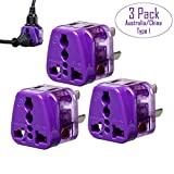 Yubi Power 2 in 1 Universal Travel Adapter with 2 Universal Outlets - Grounded - Built in Surge Protector - CE Approved - Plug Type I for Australia , China , & More! - 3 Pack Adapter Set - Purple