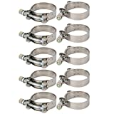uxcell 10 Pcs 52mm-60mm Stainless Steel T-Bolt Hose Clamp for Fuel Pump Filter Plumbing