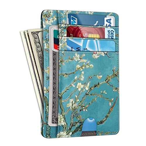 Slim Minimalist Front Pocket Wallet, Fintie RFID Blocking Credit Card Holder Card Cases with ID Window for Men Women (C-Vertical-Blossom)