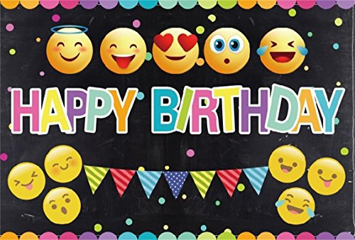 CSFOTO 7x5ft Background For Happy Birthday Bash Decor Different QQ Expressions Black Photography Backdrop Banner Celebrate Party Ornament Happiness Child Baby Infant Studio Props - Wallpaper Expressions Color